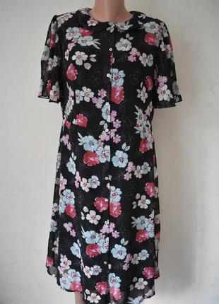 Новое шифоновое платье с принтом цветы tu