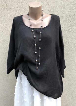 Чёрная,лён блуза реглан,рубаха,этно бохо стиль,большой размер