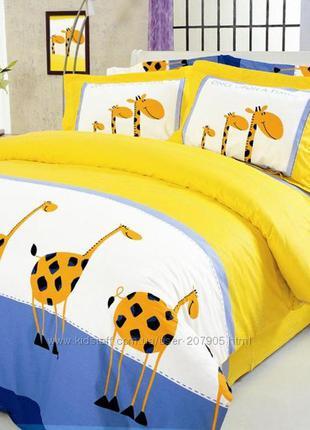 Постельный комплект полуторка жирафы теп