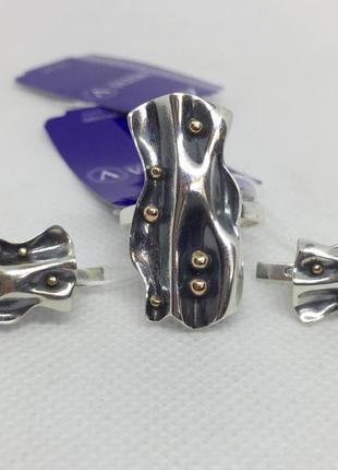 Новый красивый серебряный набор чернение позолота серебро 925 ...