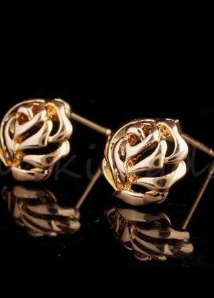 🏵стильные позолоченные серьги розы, новые! арт. 3323