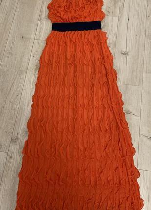 Длинное коралловое  платье .,размер с