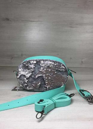 Женская сумка на пояс- клатч мятного цвета пайетки серебро-сер...