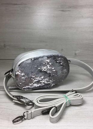 Женская сумка на пояс- клатч серебряного цвета пайетки серебро...