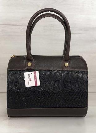 Женская сумка маленький саквояж коричневого цвета со вставкой ...
