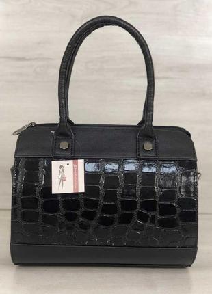 Женская сумка маленький саквояж черный лаковый крокодил