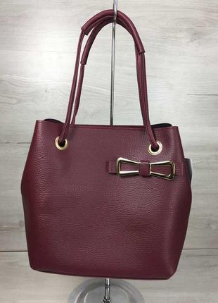 2в1 молодежная женская сумка бантик бордового цвета