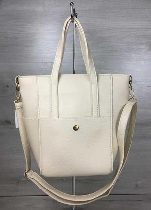 Молодежная женская сумка милана с классическим ремнем бежевого...