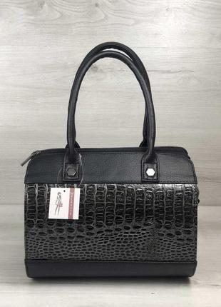 Женская сумка маленький саквояж черного цвета со вставкой серы...