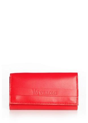 Красный кожаный кошелек с хлястиком