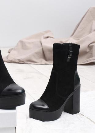 Скидка до 05.04!!  замшевые ботинки на платформе и каблуке