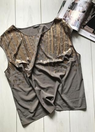 Блуза хаки с пайетками большого размера