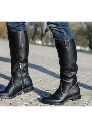 Скидка до 24.04!!  черные сапоги кожаные
