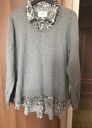 Блуза+свитер серого цвета 20-22 размера