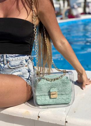 2в1 молодежная сумка селена силиконовая с косметичкой мятный к...
