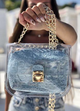 2в1 молодежная сумка селена силиконовая с косметичкой голубой ...