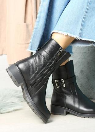 Скидка до 05.04!!  кожаные женские ботинки на зиму со змейкой