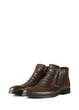 Коричневые мужские кожаные зимние ботинки