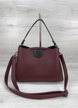 Молодежная женская сумка илина бордового цвета