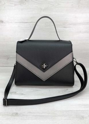 """Женская сумка """"бетти"""" черная с серебром"""