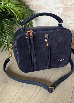 Синяя сумочка из замши и экокожи