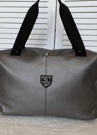 Большая серая спортивная сумка