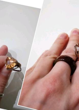 17р. Серебряное кольцо, золотая пластина, масивный камень, топаз,