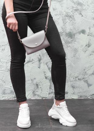 Серая сумочка-клатч с ремнем на пояс и через плечо