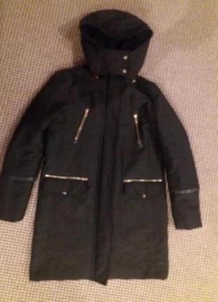 Весеннее пальто парка куртка бойфренд со сьемним мехом от  mango