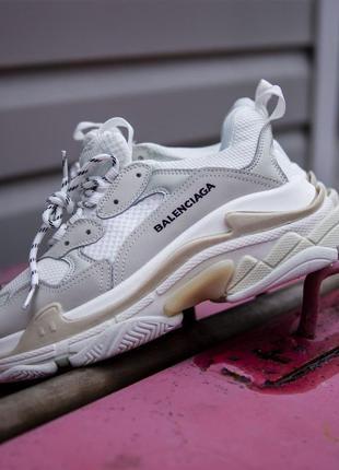 Balenciaga triple s white женские кроссовки белые