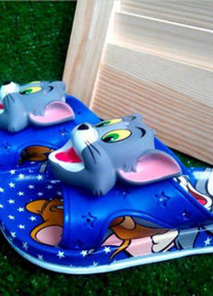 Детские силиконовые шлепки синие том