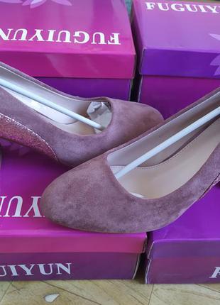 Женские нарядные розовые туфли на устойчивом каблуке