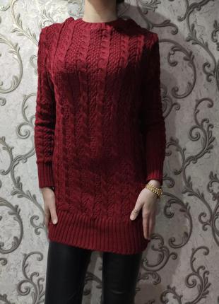Женская вязаный свитер туника бордовая