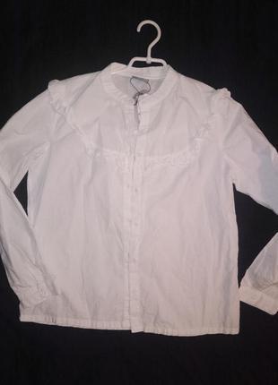 Рубашка женская белая с рюшами хлопок