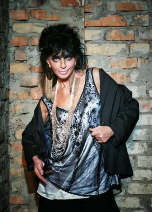 Блуза на шлейках майка вечерняя с пайетками бисером двойная се...