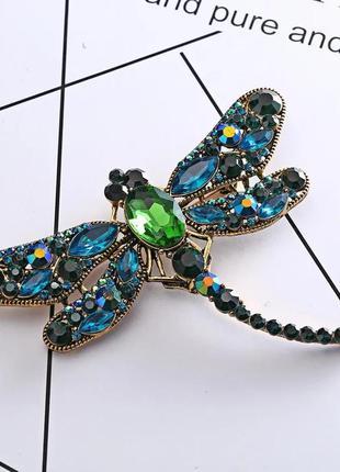 Шикарная брошь стрекоза винтажная зелено-синяя