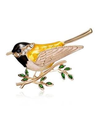 Женская брошь птица / птичка с камнями  жёлто-черная металличе...