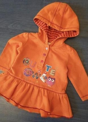 🎀 красивая оранжевая кофточка толстовка реглан  baby club 3-6 ...