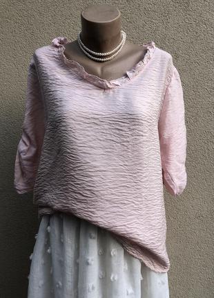 Розовая блуза,рубаха с рюшами,жатка,этно бохо стиль,вискоза,хл...