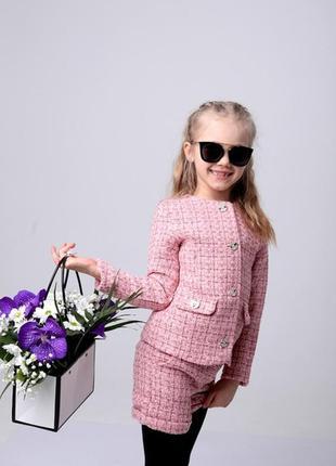 Твидовый модный костюм для девочки