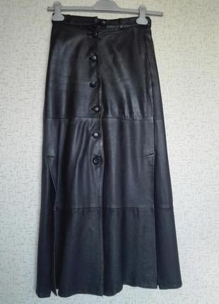 Длинная юбка из натуральной кожи