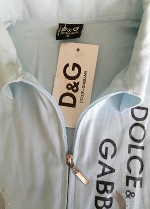 Нежно-голубая,трикотажная кофта-лонгслив на змейке d&g