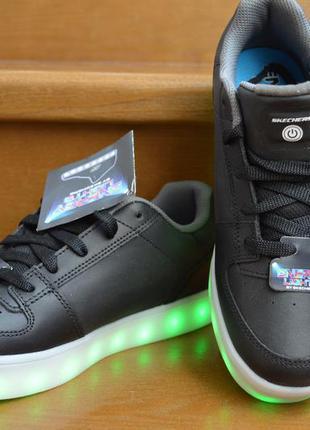 Кожаные светящиеся кроссовки с led подсветкой skechers energy....