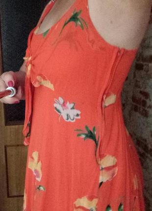 Коралловое платье-туника из вискозы
