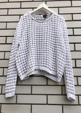 Вязаная белая кофта джемпер свитер сетка armani jeans