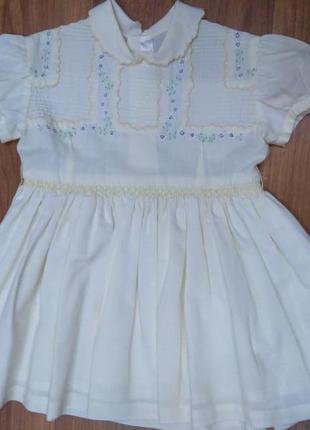 Нарядное платье с пышной юбкой и вышивкой на груди 100% хлопок