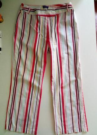 Короткие легкие брюки-капри в полоску/ joie de vivre