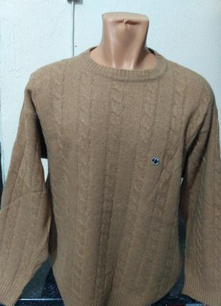 Тёплый шерстяной свитер с узором косы размер l