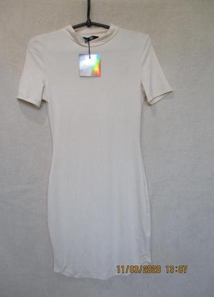 Трикотажное плать-футболка под горло/короткий рукав/платье-гол...