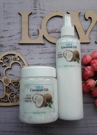 Нерафинированное кокосовое масло для волос и тела, 250 мл, пищ...